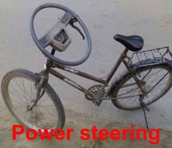#1 Power Steering Hahaha saat ini sepeda biasa bisa memakai setir mobil loh! Lengkap dengan rem tangannya!