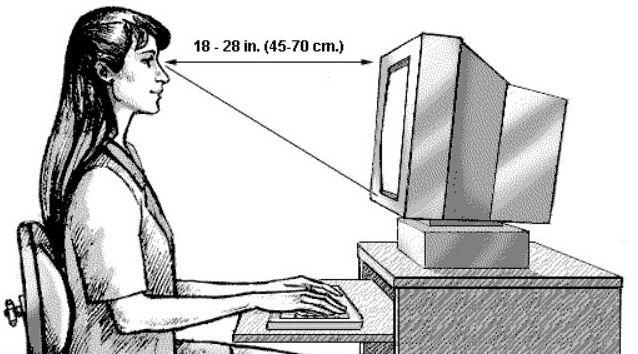 ini nih jarak yang benar dalam menatap monitor. biar mata kamu tetap sehat.