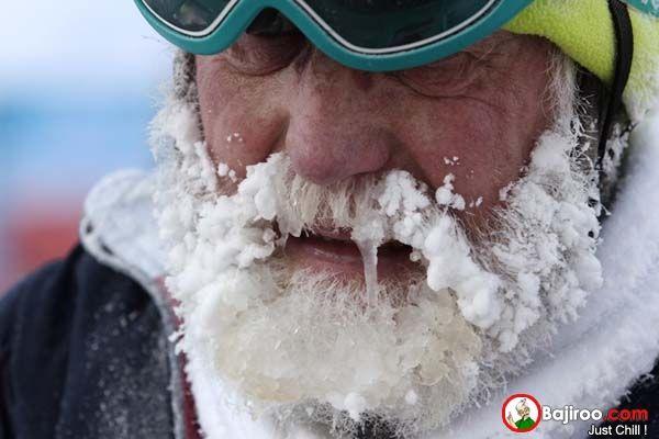 biasanya, kalo udah sampai beku kek gitu, temperatur atau suhu udaranya di bawah 0 derajat celcius!