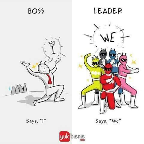 #1 PERKATAAN BOSS : akan sering mengatakan tentang saya, saya, dan saya. LEADER : dia akan sering mengatakan kami atau kita.