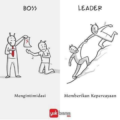 #2 Kepada bawahan BOSS : akan selalu mengintimidasi agar bawahannya terus bekerja keras. LEADER : akan memberi kepercayaan kepada bawahannya supaya bekerja lebih keras.