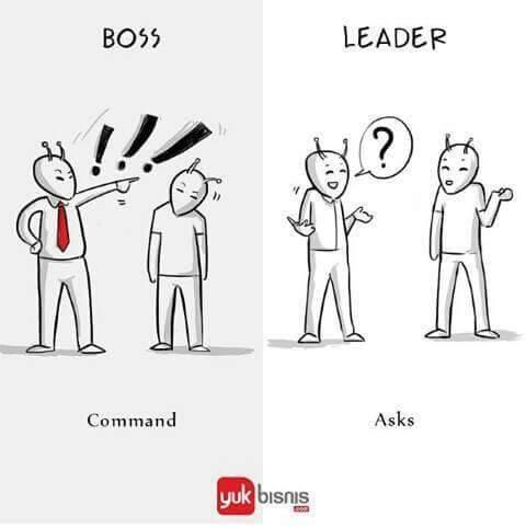 #4 INSTRUKSI BOSS : dalam melakukan tugasnya akan selalu memberikan perintah kepada bawahannya. LEADER : akan bertanya kepada bawahannya bagaimana pekerjaan supaya dapat lebih baik.