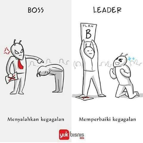 #6 KEGAGALAN BOSS : akan menyalahkan semua kegagalan kepada bawahannya. LEADER : akan memperbaiki kesalahan yang dibuat oleh bawahannya.