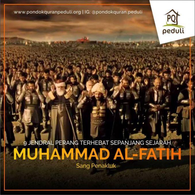 #7 MUHAMMAD AL-FATIH Sultan Mehmed II atau juga dikenal sebagai Muhammad Al-Fatih (bahasa Turki Ottoman: ???? ???? Me?med-i s?n?, bahasa Turki: II. Mehmet, juga dikenal sebagai el-Fatih ( ?????? ), sang PenaklukKejayaannya dalam menaklukkan Konstantinopel menyebabkan banyak kawan dan lawan kagum dengan kepimpinannya serta taktik & strategi peperangannya yang dikatakan mendahului pada zamannya dan juga kaedah pemilihan tenteranya. Ia merupakan anak didik Syekh Syamsuddin yang masih merupakan keturunan Abu Bakar As-Siddiq.