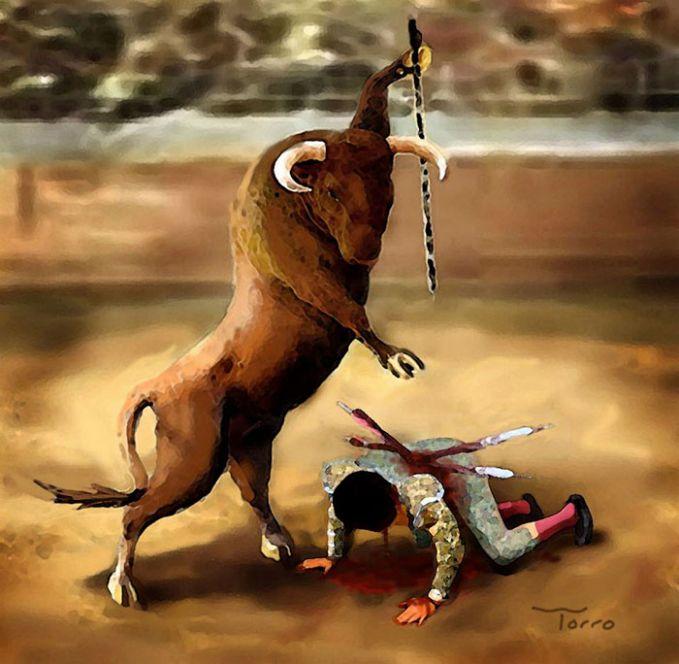 #2 MATADOR Kalau dibalik seperti ini bagaimana? Yang jadi matador adalah bantengnya dan manusia menjadi buruannya.