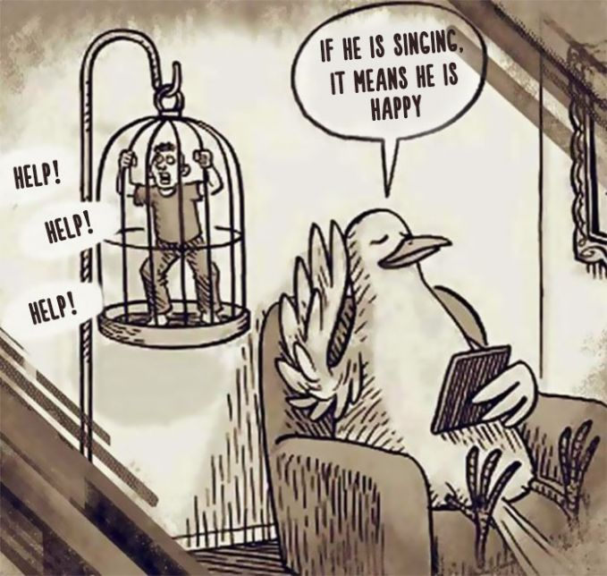 #7 SANGKAR Manusia sangat menyukai kicauan burung di dalam sangkar. Padahal mereka kadang berkicau karena mereka sedang meminta pertolongan temannya.