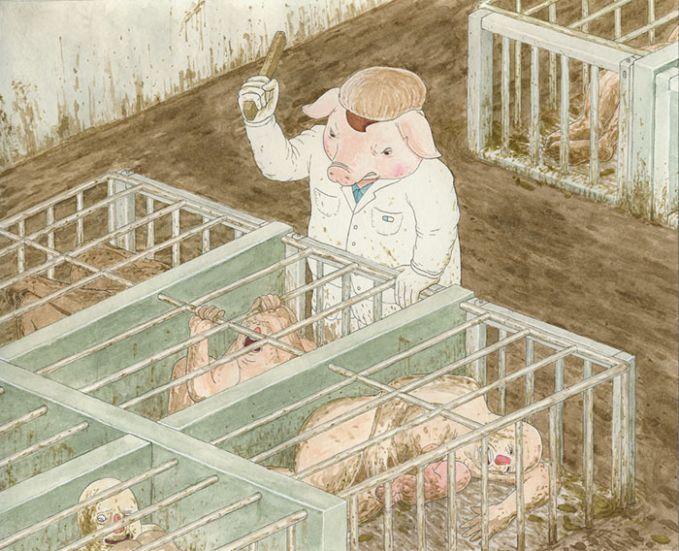 #11 KANDANG KUMUH Babi sering ditaruh pada kandang yang kotor dan dipukuli. Kali ini gilirannya manusia yang berada di posisi babinya.