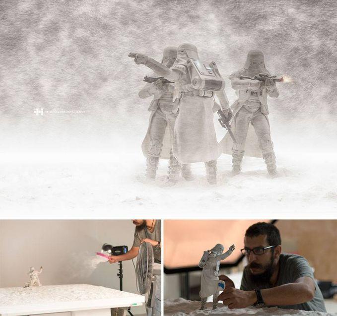 #3 PERANG DI SALJU Anggota STAR WARS sedang menyusun strategi berperang untuk melawan musuh. Dengan lapangan bersalju dan badai.