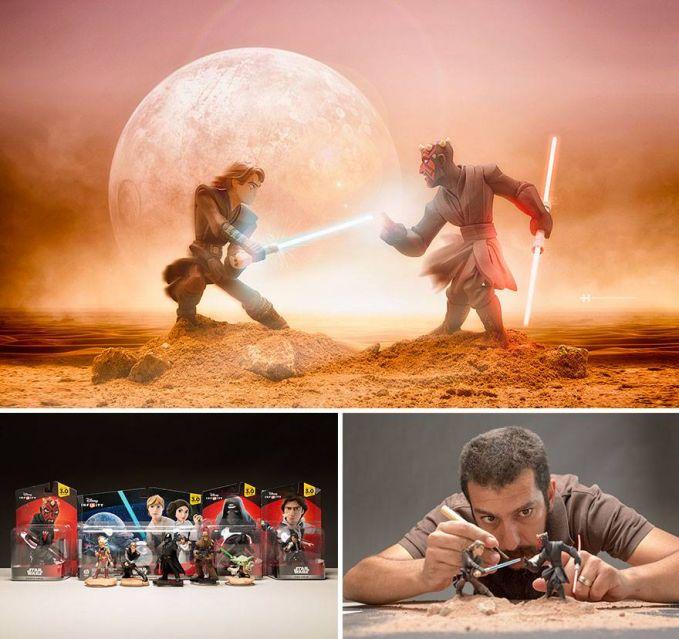 #4 STAR WARS Wah keren jadinya saat bertempur dengan menggunakan light saber dan background planet. Fotografer ini membeli mainan star wars pula untuk mendukung konsep fotonya.