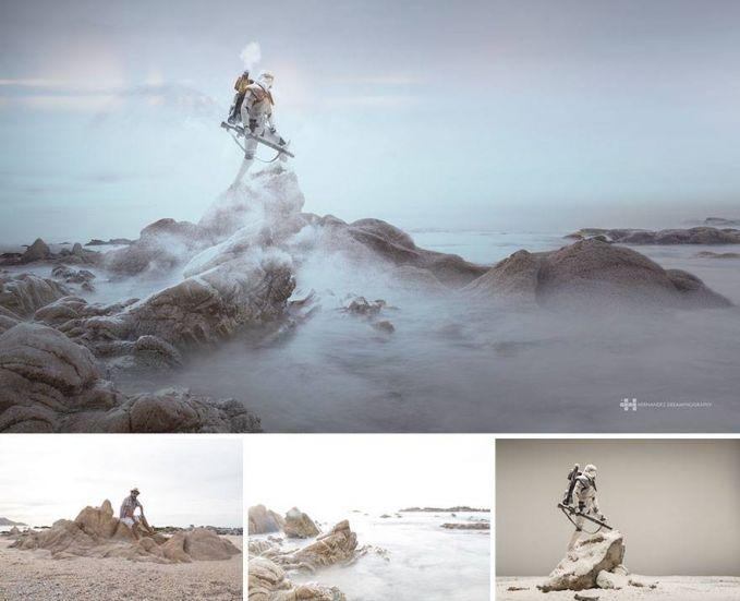 #6 PUNCAK GUNUNG Anggota Star Wars sedang berdiri di puncak gunung yang penuh dengan awan dan kabut. Ealah ternyata berada di gundukan tanah.