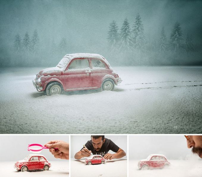 #8 MOBIL KODOK DI SALJU Sepertinya ada pengendara mobil VW yang terjebak di tengah salju. Mobil mainan itu ternyata ditaburi dengan tepung putih.
