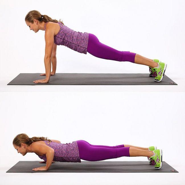 Push-ups Untuk melakukan push-up yang benar,lakukan plank pada posisi awal, kemudian dorong naik turun tubuhmu dengan menggunakan tangan sebagai topangannya. Gerakan ini akan membuat lengan dan ABSmu kencang. Langkah selanjutnya adalah kembali ke posisi awal selambat mungkin.