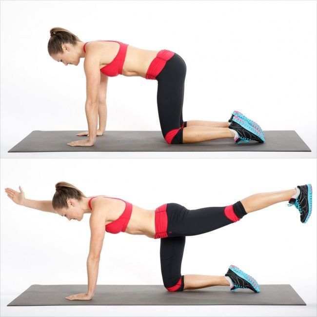 Toning Paha dan Otot Bawah Mulailah latihan seperti yang ditunjukkan pada gambar,topanglah tubuhmu dengan tangan dan lutut. Kemudian regangkan satu kaki dan berusahalah agar posisi tangan dan kaki tetap lurus. Setelah itu lakukan hal yang sama pada kaki dan lengan lainnya.