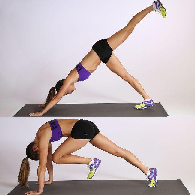 ABS dan Bokong Pertama, posisikan tangan dan kakimu sehingga tubuh membentuk segitiga di atas lantai. Angkat salah satu kakimu setinggi yang kamu bisa seperti yang terlihat pada gambar pertama kemudian turunkan perlahan-lahan dan cobalah untuk menyentuh ujung hidungmu dengan lutut. Kembali ke posisi awal dan lakukanlah hal yang sama dengan kaki yang lain.