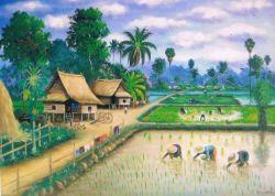 Dulu kecil aku suka menggambar pemandangan desa seperti ini.