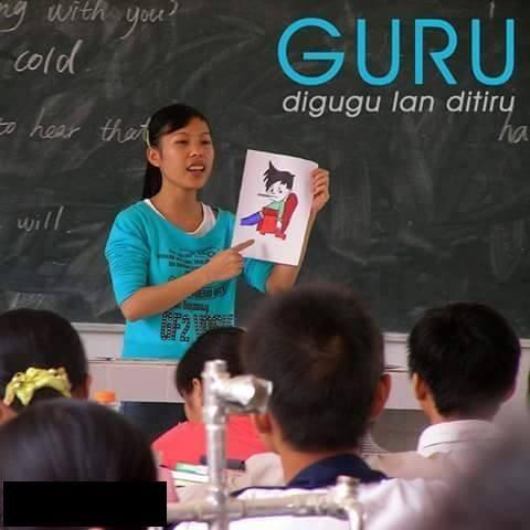 #7 GURU Digugu lan ditiru = diikuti dan ditiru. Guru adalah seorang yang memiliki pekerjaan untuk mengajar. Oleh sebab itu tak sembarang orang bisa menjadi guru yang baik karena guru itu diikuti dan ditiru oleh muridnya.