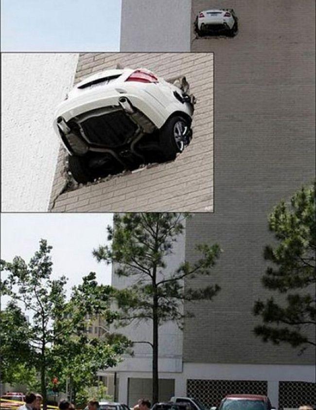 Di sebuah gedung tinggi terlihat sebuah sedan mewah menerobos tembok yang tidak ada celahnya sama sekali. Jangan-jangan mobilnya bisa terbang lagi..hihihi