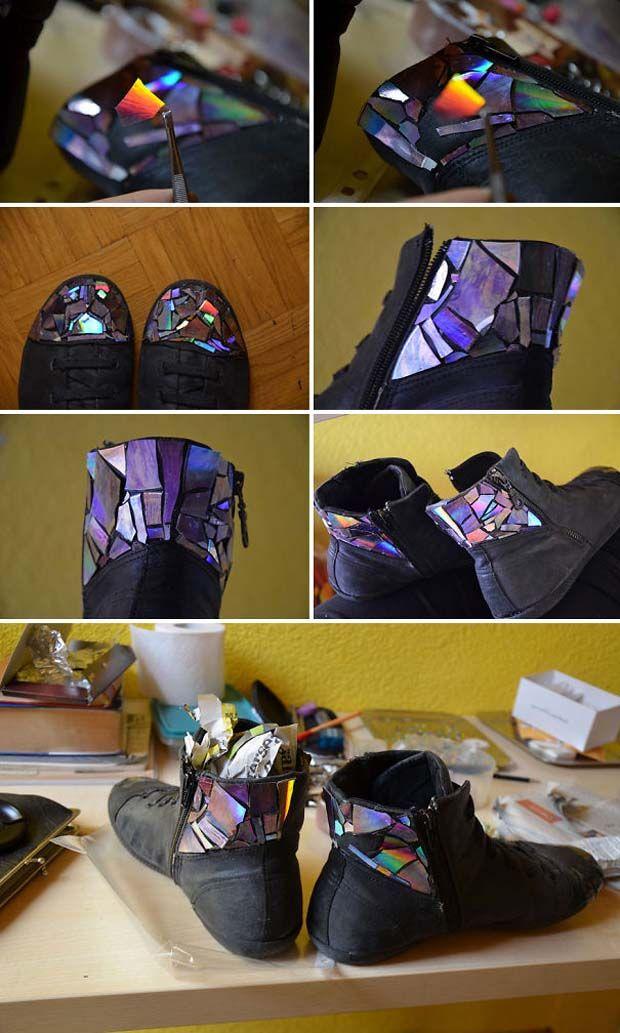 nah, punya sepatu yang polos dan gaya yang boring?bisa dibuat menjadi lebih baru dengan cd bekas gaes!