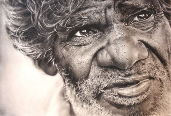 salah satu hasil karya seniman ini yang paling fenomenal adalah menggambar wajah-wajah real kek gini