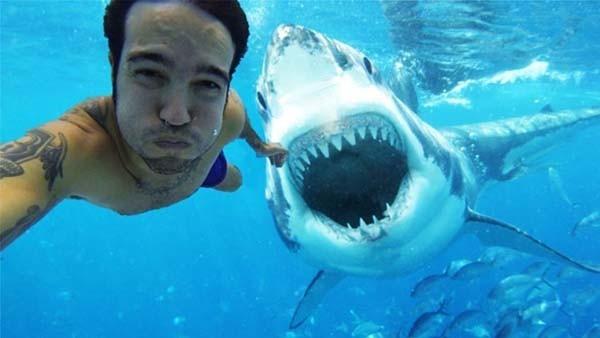 selfi sama hiu? why not! hiunya senyum tuh, atau siap buat ngunyah kali ya