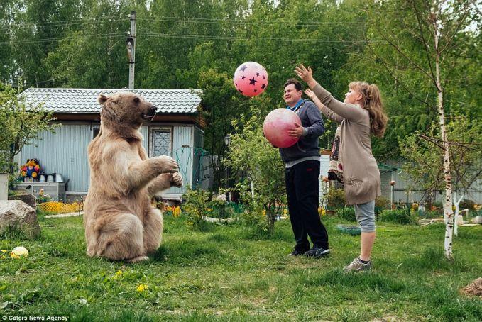 bahkan doi juga senneng main bola! macem anjing aja ya gayanya