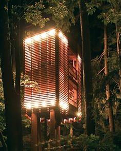 kalo ini adalahdesain rumah pohon yang moderen minimalis,, keren ya kalo malam hari
