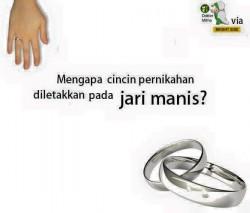 mengapa cincin pernikahan di letakan pada jari manis ???