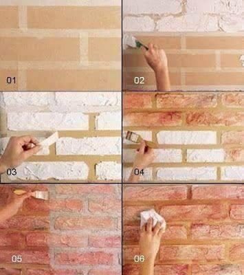 Menggunakan selotip untuk cat dinding yang bermotif batu bata