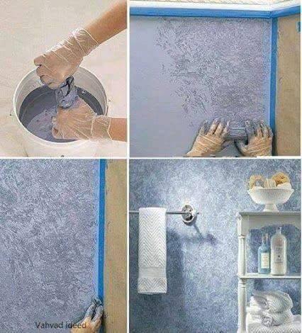 menggunakan kain yang dicelupkan kedalam cat, kemudian diperas dan dilap ke dinding