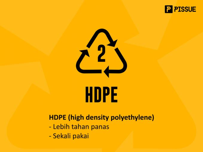 HDPE (high density polyethylene) punya sifat bahan yang lebih kuat, keras, buram, dan lebih tahan pada suhu tinggi. Tapi sama kayak PETE, cuma bisa sekali pakai. Biasanya dipakai untuk botol susu, galon air minum, kursi lipat dan lain-lain.