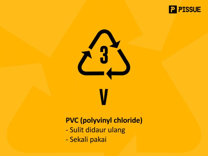 PVC (polyvinyl chloride) dikenal sebagai jenis plastik yang paling susah didaur ulang dan terkandung pada plastik pembungkus (cling wrap) dan botol. Jadi kalau kamu menemukan botol ini, jangan bisa dipake terus-terusan ya!