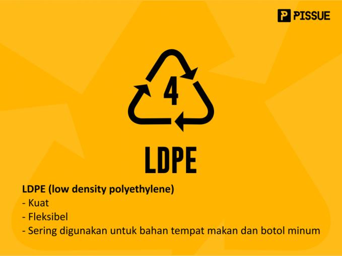 LDPE (low density polyethylene) ini kuat, tembus pandang, fleksibel, dan punya daya proteksi terhadap uap air yang baik. Tipe ini baik untuk tempat makanan.