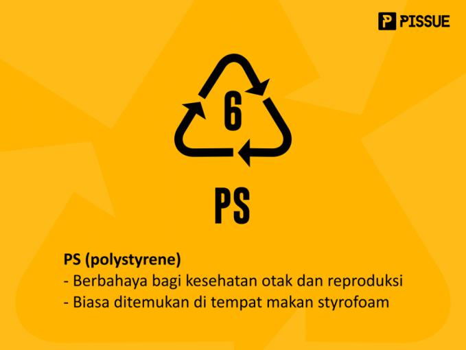 PS (polystyrene) ini selain berbahaya buat kesehatan otak dan reproduksi, juga susah didaur ulang. Contohnya ada pada tempat makan styrofoam. Maka dari itu wadah makanan dari styrofoam sangat tidak dianjurkan karena selain tidak bisa didaur ulang juga sangat berbahaya bagi kesehatan.