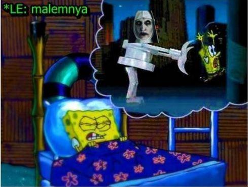 Spongebob setelah nonton film The Conjuring 2 malah Mimpi ketemu Valak