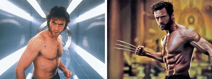Wolverine Ini penampakan saat Tahun 2000 dibandingkan dengan Tahun 2013, lebih gahar yang sekarang ya