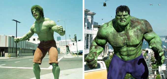 Hulk Penampakan ketika tahun 1978 dan 2014, kalau yang dulu ototnya masih asli