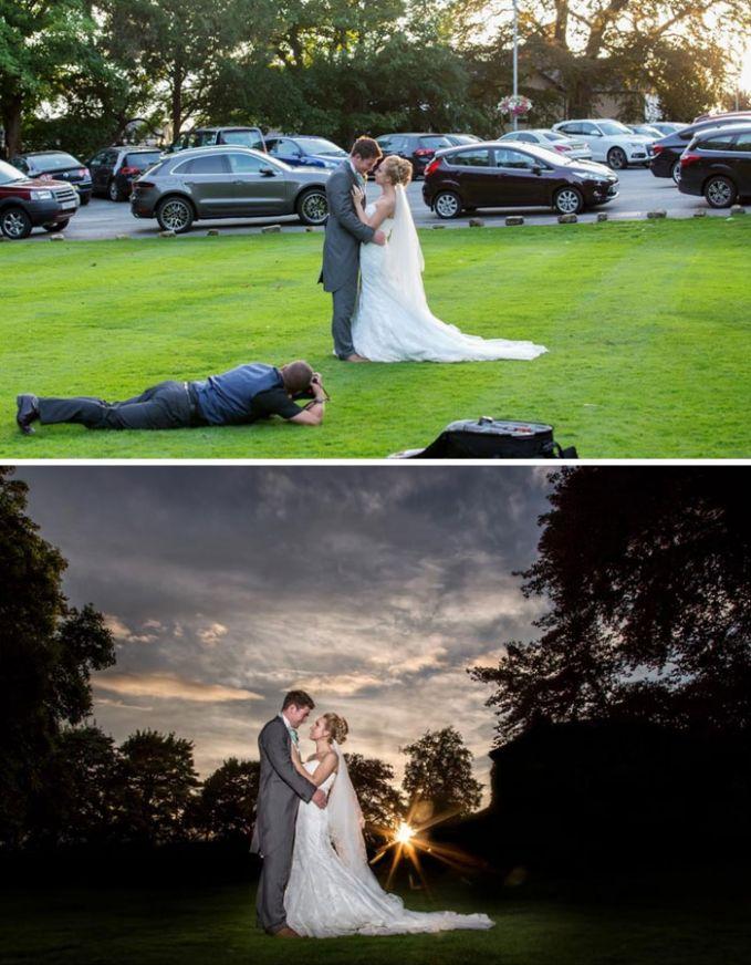 Bergulung gulung di rumput sudah biasa dilakukan demi hasil foto yang romantis.