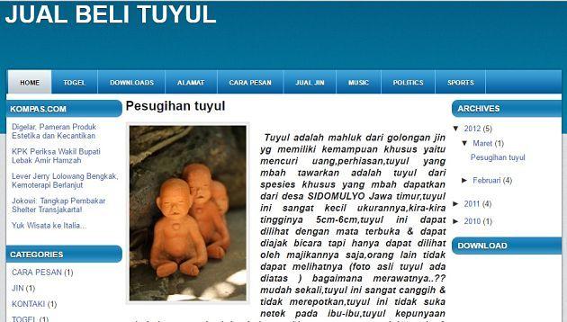 Jual Beli Tuyul Makhluk kecil mirip anak-anak yang sukanya mencuri uang ini juga ternyata juga dijual secara online Pulsker. Biasanya yang menjual pasti orang pintar yang paham dunia mistis dan dunia online, makanya dia bisa jual beli tuyulnya secara online..hehehe