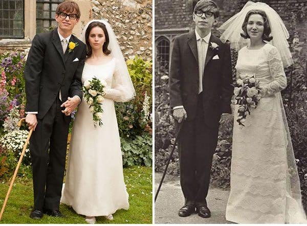 Eddie Redmayne dan Felicity Jones sebagai Stephen Hawking dan istrinya Jane Wilde di The Theory of Everything (2014).
