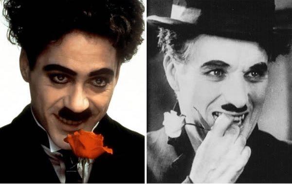 Robert Downey Jr. sebagai Charlie Chaplin di Chaplin (1992).
