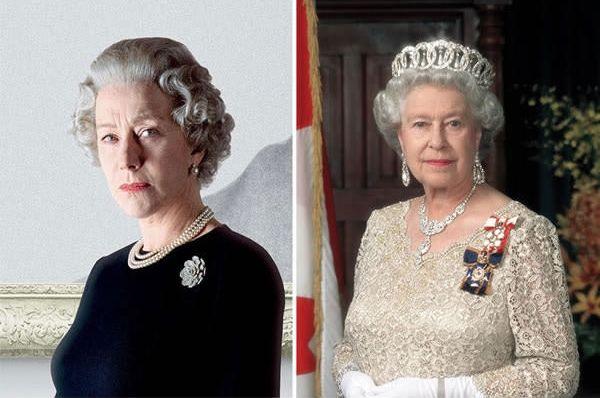 Hellen Mirren sebagai HM Queen Elizabeth II di The Queen (2007).