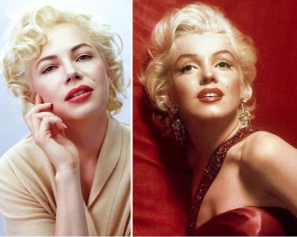 Michelle Williams sebagai Marilyn Monroe di My Week With Marilyn (2011).