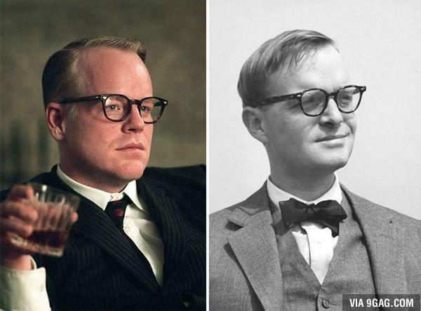 Philip Seymour Hoffman sebagai Truman Capote di Capote (2005). Jadi mana nih yang paling mirip menurut kamu Pulsker?