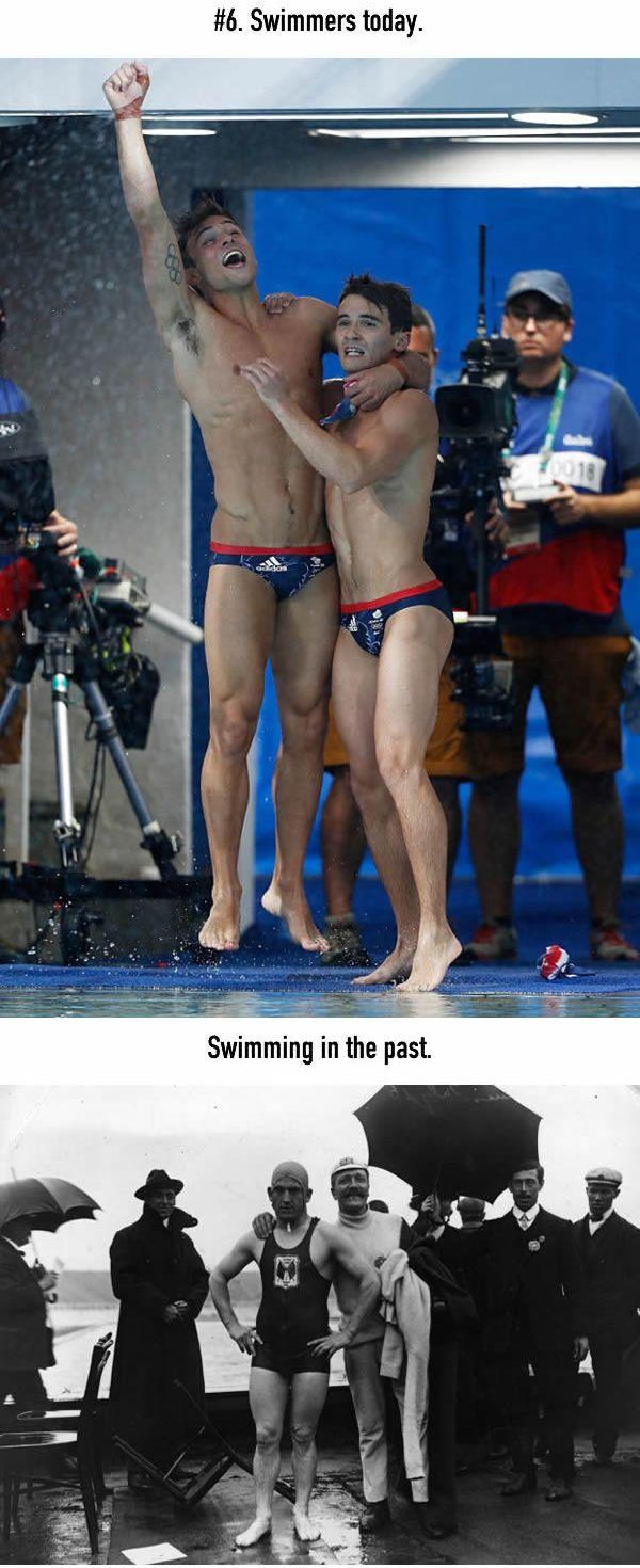 Atlet Renang Atlet renang olimpiade sekarang ga sungkan banget hanya pake celana renang yang mini. Ternyata atlet renang dulu pake baju renang juga loh Pulsker, sopan sekali ya hehehe