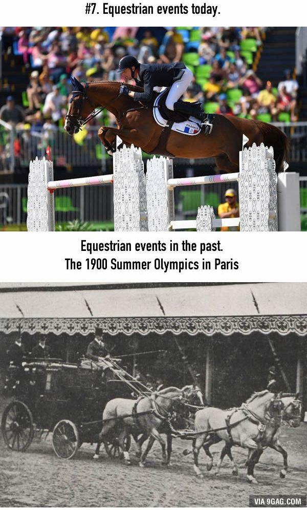 Penunggang Kuda Lomba berkuda olimpiade sekarang diikuti satu penunggang kuda dan kudanya yang berlomba untuk melompati rintangan yang ada. Tapi ternyata olimpiade dulu kereta kudanya ikut juga loh Pulsker. Kebayang ga gimana caranya biar kereta kudanya lompat juga?