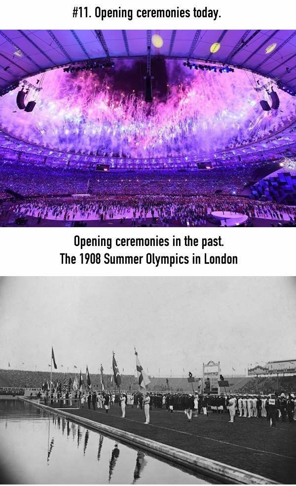 Pembukaan Olimpiade Pembukaan olimpiade sekarang sangat mewah, dengan penyanyi terkenal, tari-tarian, dan pesta kembang api. Kalau dulu upacara pembukaannya sangat formal ya Pulsker.