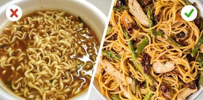 Berhenti mengkonsumsi makanan instan Makanan instan memang lezat rasanya, tapi itu sangat tidak baik untuk kesehatan. Lebih baik kamu belajar memasak makanan ng kamu inginkan daripada harus makan makanan instan atau jajan diluar Pulsker.