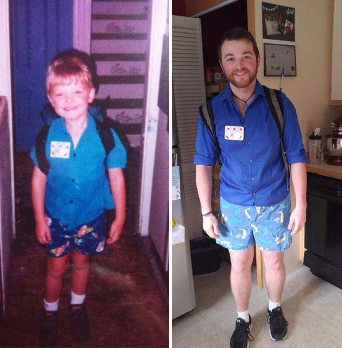 Hari Pertama Sekolah VS Hari Terakhir Sekolah Pakaiannya dibuat mirip banget, tapi sayang brewoknya ga berbohong hehe.
