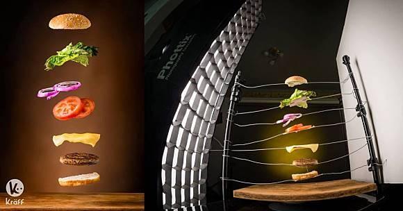 Burgernya kelihatan seperti terbang, padahal bahan-bahannya di letakkan diatas kawat dan diberi sedikit editan. Bisa ditiru nggak ya??
