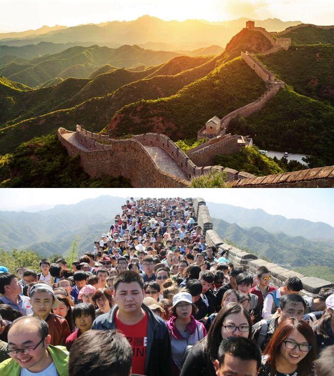 Mengunjungi Tembok Besar di Tiongkok Ekspektasi: tempatnya sepi, jadi bisa puas foto-foto sendiri Realita: ternyata rame banget sama orang, ga bisa foto sendiri, mau jalan aja susah